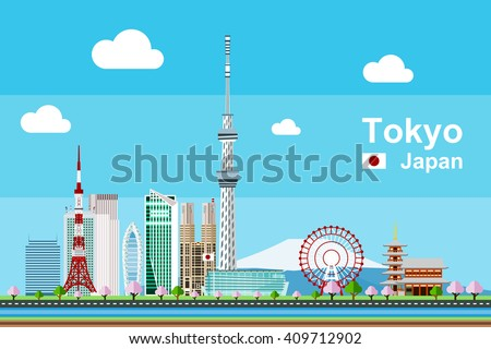 Simple flat-style illustration of Tokyo city in Japan and its landmarks. Famous buildings included such as Tokyo Tower, Sensoji temple, Daikanransha ferris wheel, and cities notable tall buildings. - stock vector