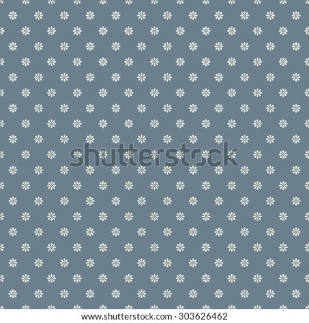 Simple floral background. Retro tiny white flowers on steel blue background, seamless vector pattern.  - stock vector