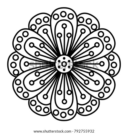 simple floral mandala print easy coloringのベクター画像素材