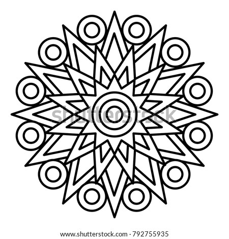 Simple Floral Mandala Print Easy Coloring Stock Vector HD (Royalty ...