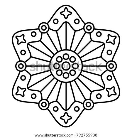 Simple Floral Mandala Print Easy Coloring Page Illustration For Kids And Beginners Abstract Flower