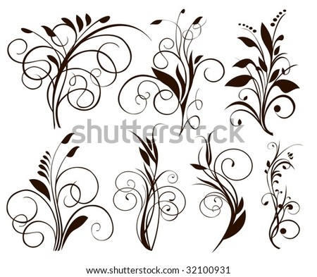 simple floral ornaments - stock vector