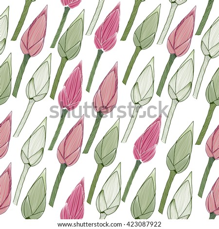 Simple floral pattern. Lotus buds in the spring season. Seamless background. Endless texture. Nature theme. Can be used for wallpaper, pattern fills, web page background, surface textures. - stock vector
