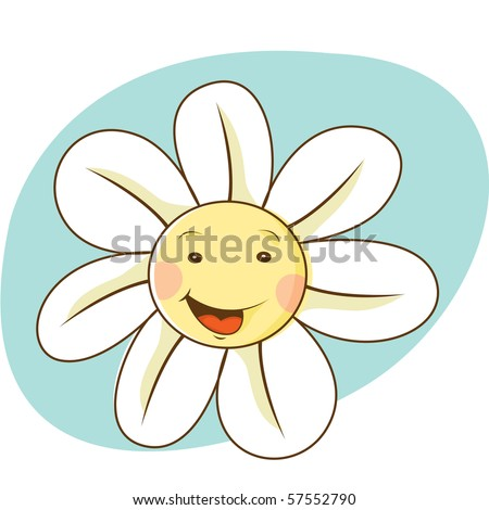 Simple flower face illustration - stock vector