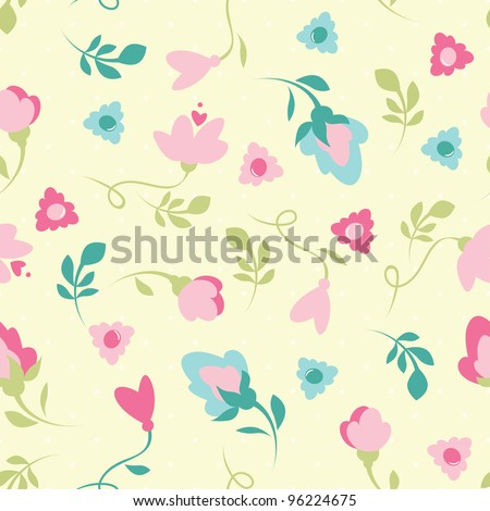 Simple flower in floral pattern - stock vector