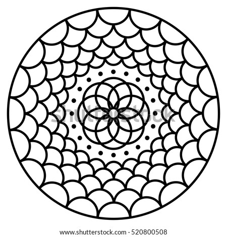 simple flower mandala pattern coloring book stock vector 2018 520800508 shutterstock - Simple Coloring Pictures
