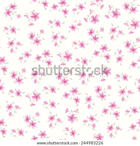 Simple flower pattern. Floral seamless background with small floral design - stock vector