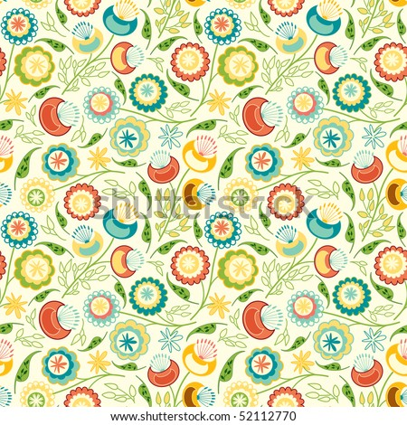 simple flowers in floral pattern - stock vector