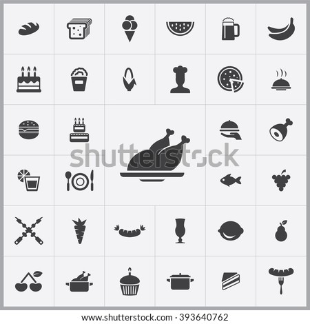 Simple food icons set. Universal food icons to use for web and mobile UI, set of basic UI food elements  - stock vector