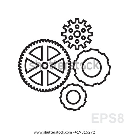 Simple gear, cog wheel or settings icon. Machine, technology, equipment, engine, mechanism sign. Idea, development, progress stylized symbol. Part of clockwork isolated. - stock vector