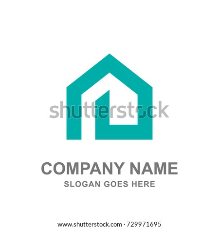 Simple Geometric House Real Estate Architecture Construction Logo Vector Icon