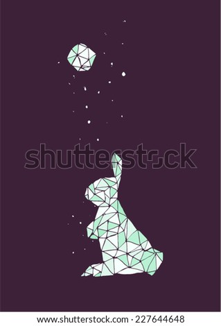 Simple Geometric Moon Rabbit In A Starry Night Cold Colors Violet And Blue
