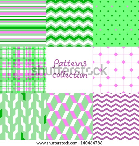 Simple geometric seamless patterns set in violet and green, vector