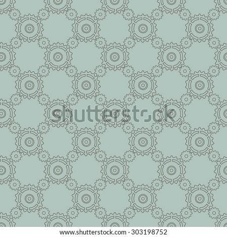 Simple geometric steampunk seamless pattern - stock vector