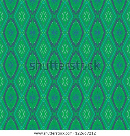 simple geometrical vector seamless pattern in green and blue - stock vector