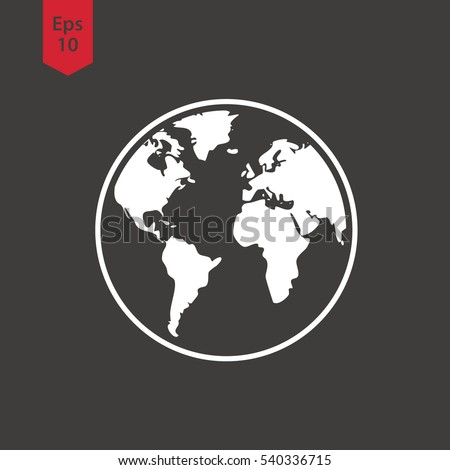 Simple globe icons earth flat sign stock vector 2018 540336715 earth flat sign symbol of world map vector illustration gumiabroncs Gallery