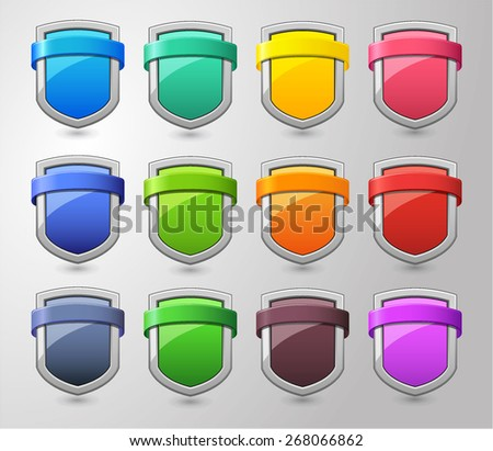 Simple Glossy Shield Collection - stock vector