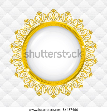 simple gold frame with seamless upholstery - stock vector