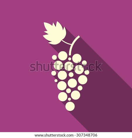simple grape icon with long shadow. concept of winegrowering, liquor store, wine house, beverage, egetarian. isolated on purple background. flat style trend modern logotype design vector illustration - stock vector