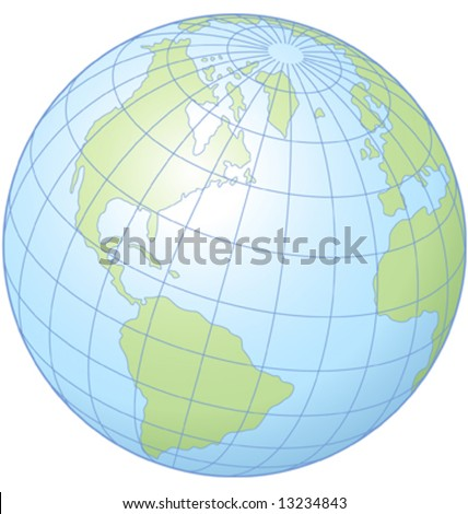 Simple graphic illustration of the globe showing latitude and longitude. - stock vector