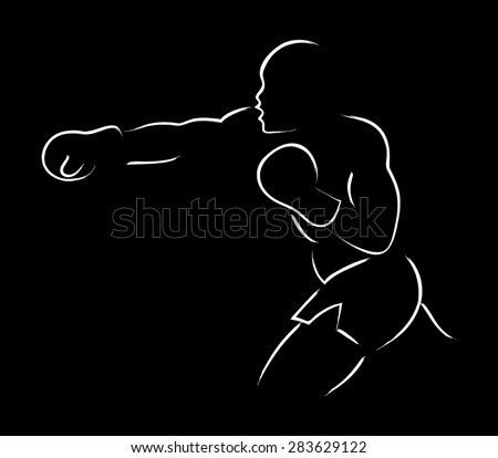 Simple graphic of a boxer figure - stock vector