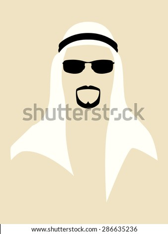 Simple graphic of man with beard wearing a headscarf and sunglasses - stock vector