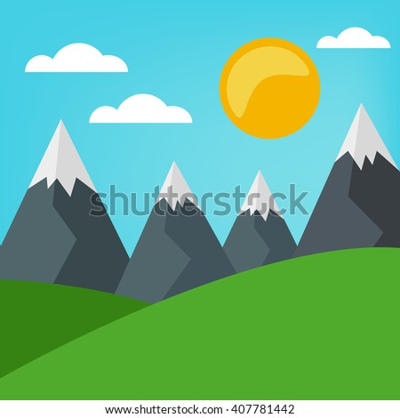 Simple grass, clouds and blue sky vector landscape. Summer holiday illustration. - stock vector