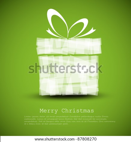 Simple green Christmas card with a gift made from rectangles - stock vector