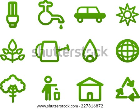 Simple Green icons, Vector illustration cartoon.  - stock vector