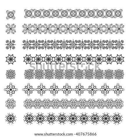 simple grey ethnic pattern elements set. Vector objects, web design, decoration element