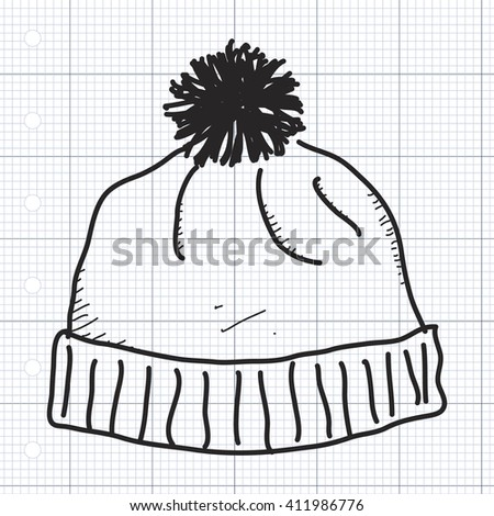 Simple hand drawn doodle of a bobble hat