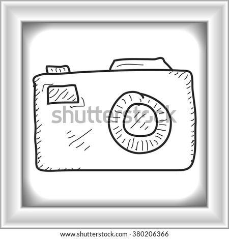 Simple hand drawn doodle of a camera