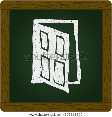 Simple hand drawn doodle of a door - stock vector