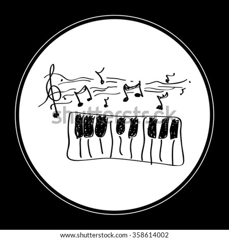 Simple hand drawn doodle of a piano