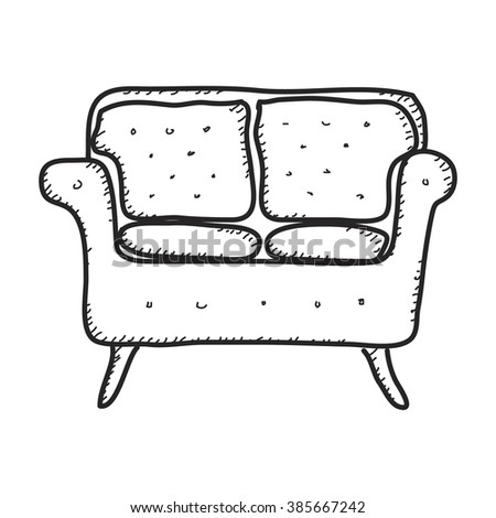 Simple hand drawn doodle of a sofa - stock vector