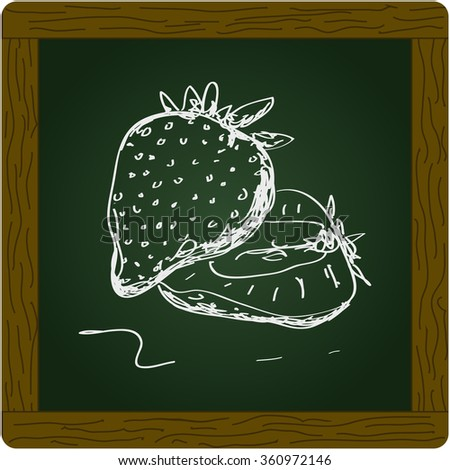 Simple hand drawn doodle of a strawberry - stock vector