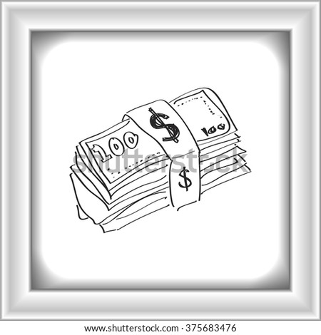 Simple hand drawn doodle of a wad of bank notes - stock vector