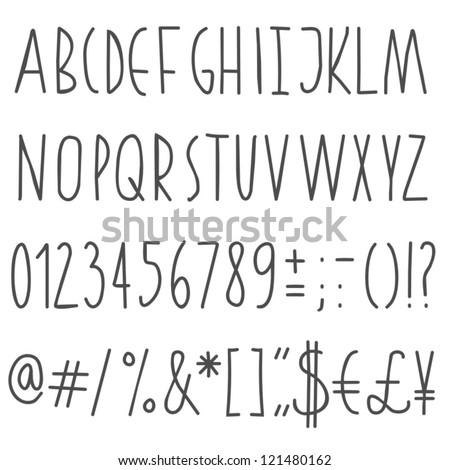 simple hand drawn gray letters and numbers on white background education set