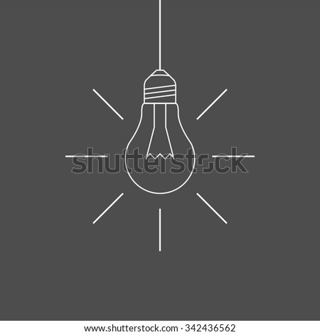 Simple hanging light bulb outline - stock vector