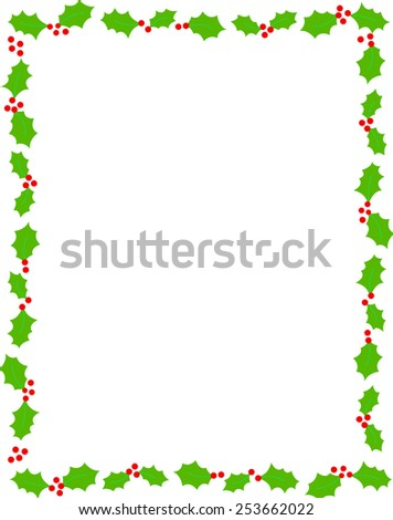 Simple holly and red berries christmas frame on white background - stock vector