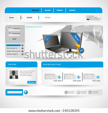 Simple Homepage Template Blue Theme Stock Vector - Homepage template
