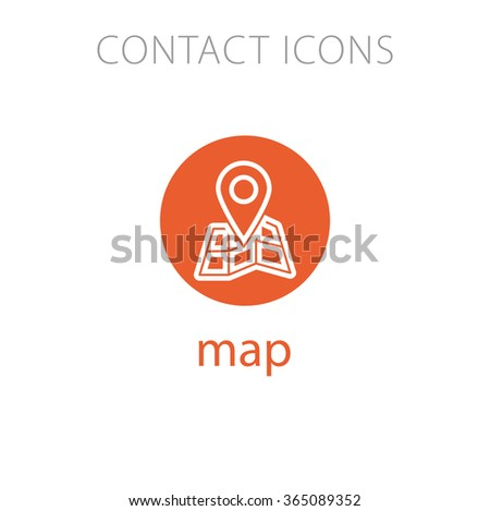 Simple Icon for Website Flowcharts: map - stock vector