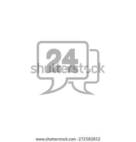 Simple icon hour technical support. - stock vector
