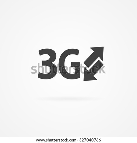 Simple icon of 3g text and arrows. Shadow and white background. - stock vector