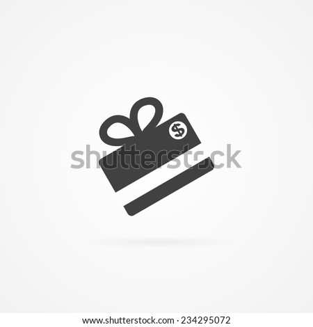 Simple icon of gift made with credit card. Shadow and white background. - stock vector
