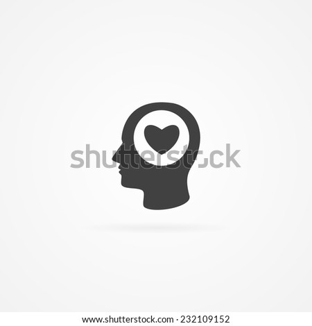 Simple Icon Heart Symbol Human Head Stockvector 232109152 Shutterstock
