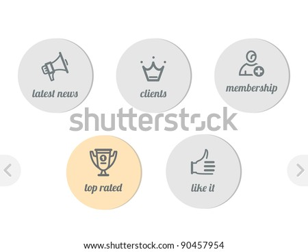 simple icons for web - news and clients, win cup and join, like it - stock vector