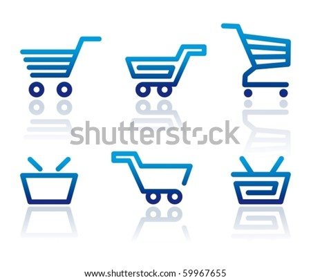 Simple icons of shopping carts and baskets - stock vector