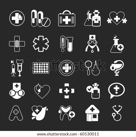 simple icons on the theme of Health - stock vector