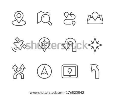 Simple Icons related to Navigation for you design  - stock vector